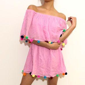 Pom festive dress | pink